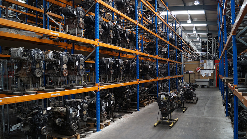 recycled vehicle engines on racking