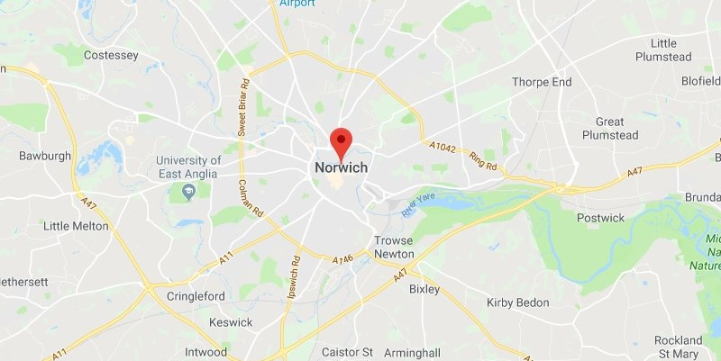 Map of Norwich Scrap Car Collection Areas