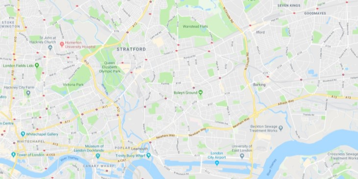 Map of East London Scrap Car Collection Areas